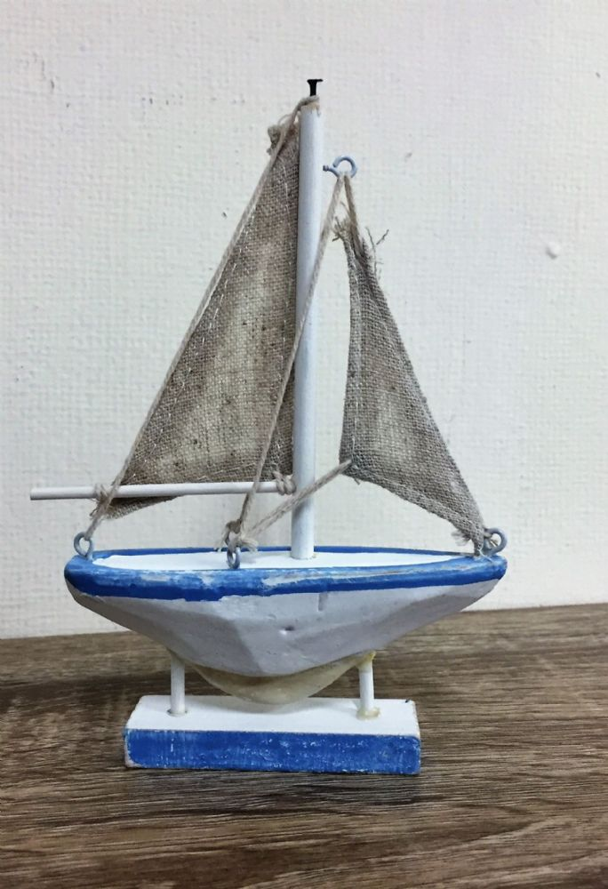 Blue & White Distressed Sail Boat Small Nautical Ornament